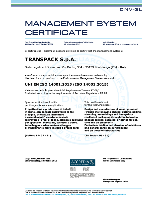 CERTIFICAZIONE MANAGEMENT SYSTEM - TRANSPACK